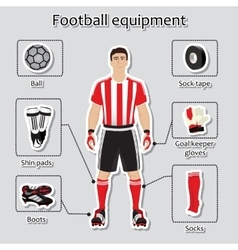 Soccer player uniform sport equipment for vector