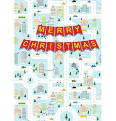 Merry christmas greeting card winter city on eve vector