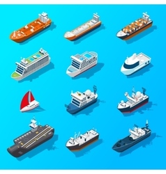 Ships boats vessels isometric icon set vector