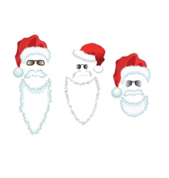 Red santa claus hat beard and glasses vector