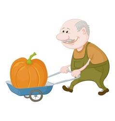 Men driven truck with pumpkin vector image