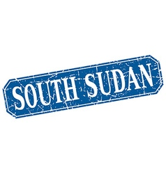 South sudan blue square grunge retro style sign vector
