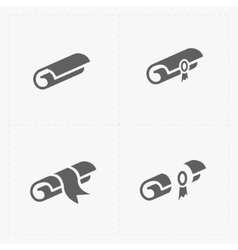 Scrolls icons with ribbon on white vector