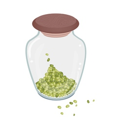 A lot of mung beans in glass bottle vector