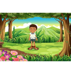 A schoolboy in the middle of the forest vector image vector image