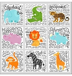 African animals set background vector