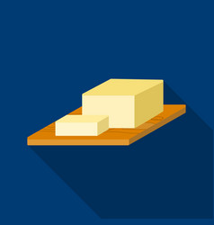 Bar of butter on cutting board icon in flat style vector
