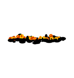 Burning charcoal isolated hot coal on white vector