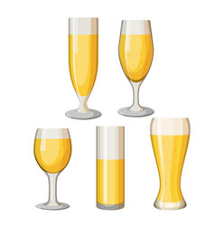Collection of beer mugs with light alcohol vector
