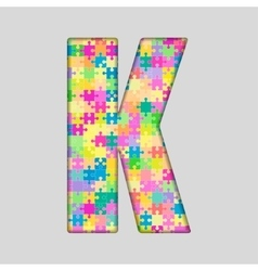 Color Piece Puzzle Jigsaw Letter - K vector image vector image