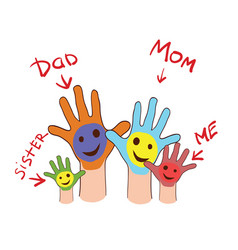 Colorfull up hands of a family vector