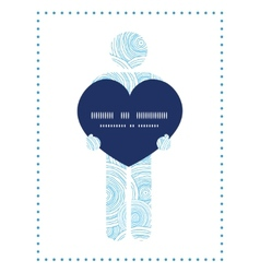 Doodle circle water texture man in love silhouette vector