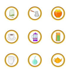 Drink tea icon set cartoon style vector