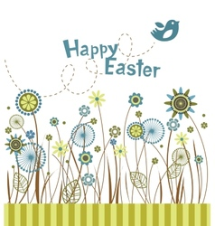 Easter flowers greeting card vector image
