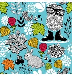 Endless pattern with forest birds and animals vector