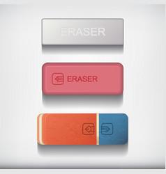 eraser set isolated on white background vector image