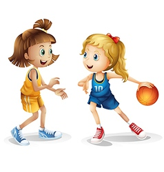 Female basketball players vector