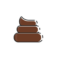 Flat color dog poop icon vector