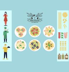 Flat italian restaurant infographic concept vector