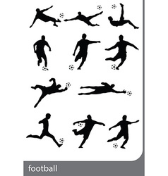 football players silhouettes vector image vector image