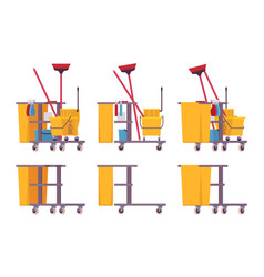 Full and empty janitor cart vector