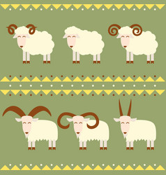 goats and sheep with different horns vector image