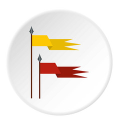 Gold and red medieval flags icon circle vector