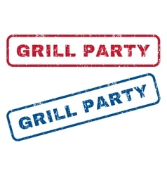 Grill party rubber stamps vector