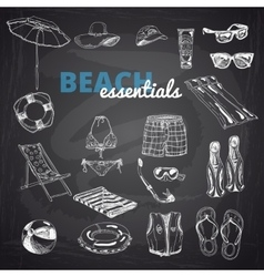 Hand drawn Beach essentials vector image vector image