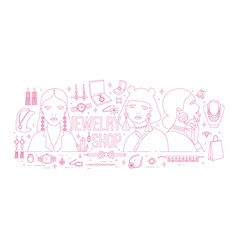 horizontal banner with fashionable women wearing vector image