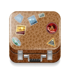 Leather suitcase with stickers vector image vector image