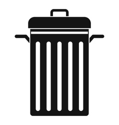 Metal trash can icon simple style vector image vector image