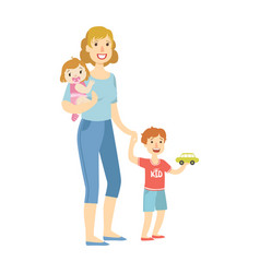 Mother with two kids baby daughter and little son vector