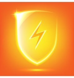 Orange glass shield vector image vector image
