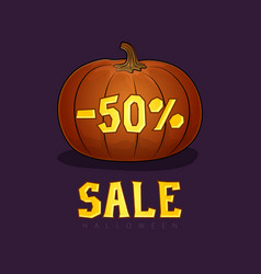 pumpkin with a discount fifty percent vector image vector image