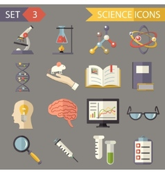 Retro flat science icons and symbols set vector