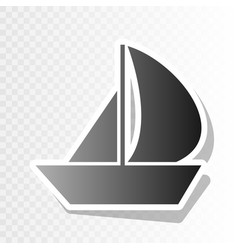 Sail boat sign new year blackish icon on vector