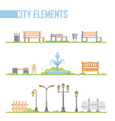 Set of city park elements - modern cartoon vector
