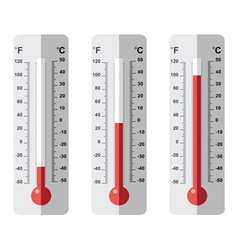 set of flat thermometer icons vector image