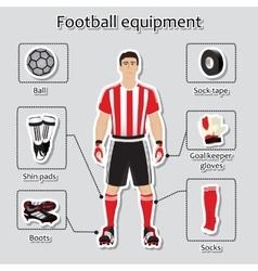 Soccer player uniform sport equipment for vector