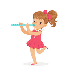 sweet little girl playing flute young musician vector image vector image