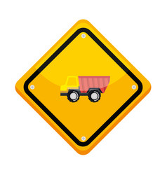traffic signal with dump truck vector image