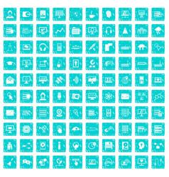 100 on-line seminar icons set grunge blue vector