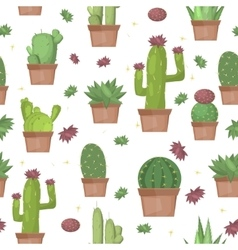 Cactus seamless pattern background vector image