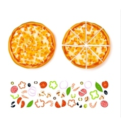 Sliced empty pizza composition vector