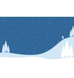 Landscape on the hill winter christmas vector