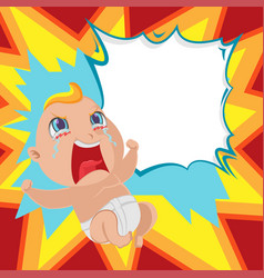 Baby anger cartoon template background vector