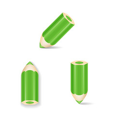 Green pencil icon set isolated vector
