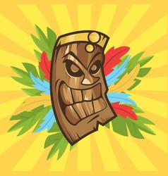Tiki tribal mask tiki bar banner vector