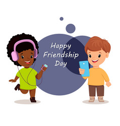 Happy friendship day smiling girl and boy vector